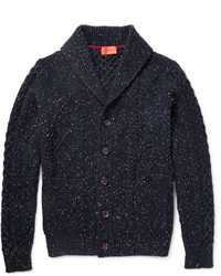 Isaia Shawl Collar Cable Knit Wool Cardigan