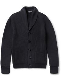 Tom Ford Shawl Collar Ribbed Merino Wool Cardigan