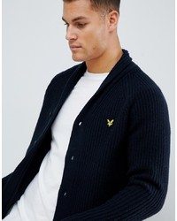 Lyle & Scott Shawl Neck Cardigan In Navy