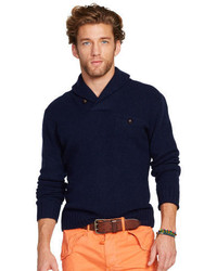 Navy Shawl-Neck Sweater