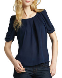Navy Short Sleeve Blouse