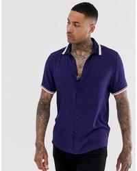 ASOS DESIGN Oversized Viscose Shirt With Rib Detail In Navy