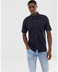 Jack & Jones Premium Drop Shoulder Short Sleeve Pique Shirt In Navy