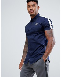 Siksilk Short Sleeve Shirt In Navy With White