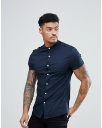 ASOS DESIGN Skinny Shirt With Grandad Collar In Navy
