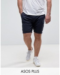 Asos Plus Skinny Chino Shorts In Navy