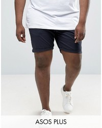 Asos Plus Slim Chino Shorts In Navy