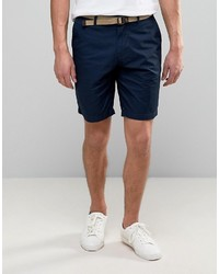Pull&Bear Smart Chino Shorts With Belt In Navy