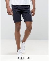 Asos Tall Slim Chino Shorts In Navy