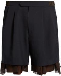Kolor Tulle Underlayer Wool Blend Shorts