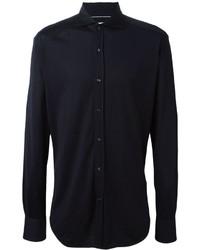 Navy Silk Dress Shirt