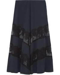Stella McCartney Lace Paneled Silk Maxi Skirt Midnight Blue