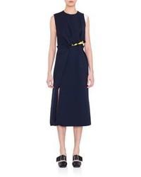 Navy Silk Midi Dress