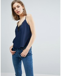 Asos Cami With Lace Plunge Tie Back