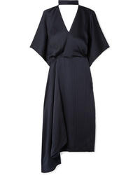 Roland Mouret Meyers Wrap Effect Asymmetric Hammered Silk Satin Midi Dress