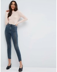 ASOS DESIGN Asos Ridley High Waist Skinny Jeans With Seamed Split Front In Valentine Dark Mottled Wash