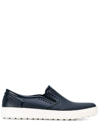 Salvatore Ferragamo Laser Cut Slip On Sneakers
