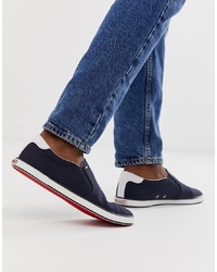 Tommy Hilfiger Slip On Trainer With Contrast Sole And Flag Logo In Navy