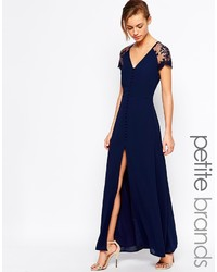 Petite lucia button through maxi dress with lace shoulders medium 227540
