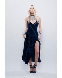 Navy Slit Velvet Maxi Dress