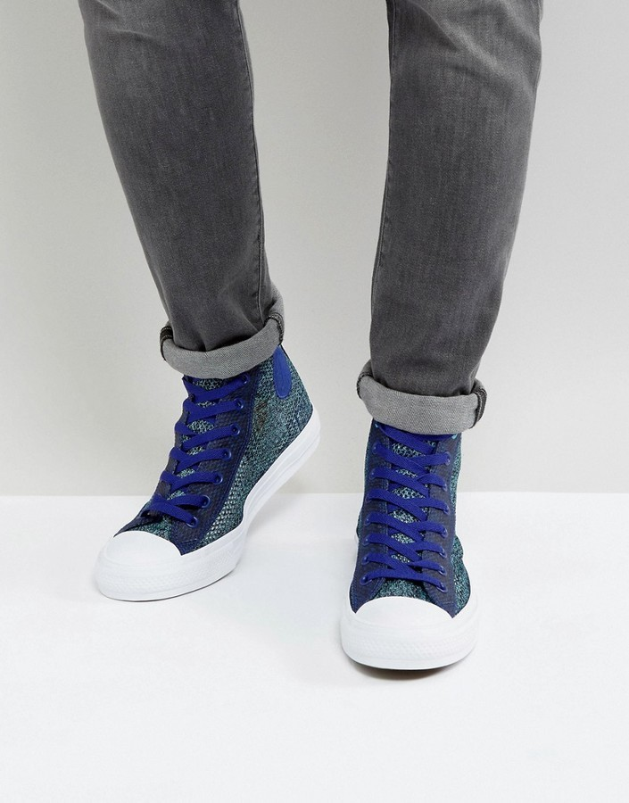 63612cf92 ... Converse Chuck Taylor All Star Ii Hi Sneakers In Blue Knit 155730c ...