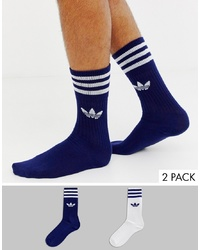adidas Originals 2 Pack Socks Navy White