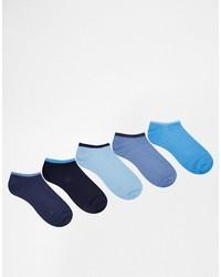 Asos Brand Sneaker Socks 5 Pack In Blue Save 47%