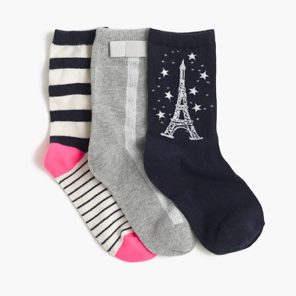 J.Crew Girls Spring Trouser Socks Three Pack