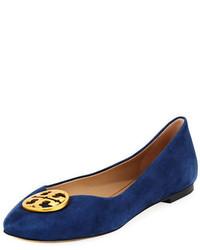 Navy Suede Ballerina Shoes