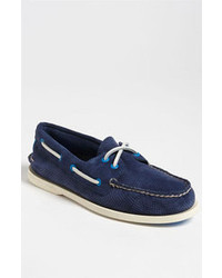 Sperry Top-Sider Authentic Original Suede Boat Shoe Navy Perf Suede 95 M