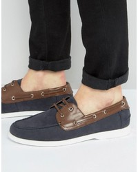 Boat shoes in navy faux suede with brown contrast detail medium 3706950