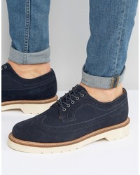 Navy Suede Brogue Boots
