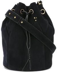 Navy Suede Bucket Bag