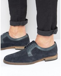 Derby shoes in navy suede with natural sole medium 1033646