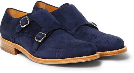 d380d9de38b4 ... Navy Suede Double Monks Okeeffe Bristol Suede Monk Strap Shoes ...