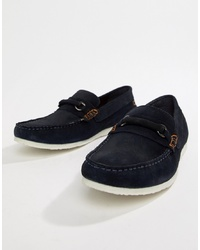 Silver Street Bar Loafers In Navy Suede