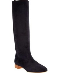 Navy Suede Knee High Boots