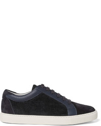 Brunello Cucinelli Leather Trimmed Suede And Corduroy Sneakers