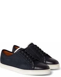 John Lobb Levah Cap Toe Suede And Leather Sneakers