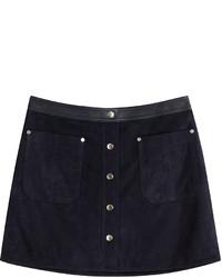 Navy Suede Mini Skirt