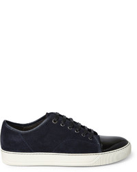 Lanvin Cap Toe Suede And Patent Leather Sneakers