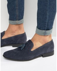 Tassel loafers in navy faux suede medium 1155631
