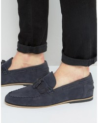 Asos Tassel Loafers In Navy Faux Suede With Fringe