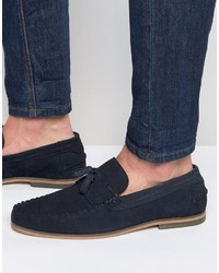 Tassel loafers in navy suede with fringe and natural sole medium 755058