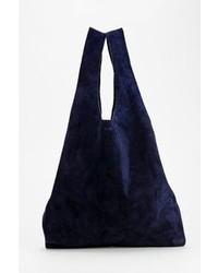 Navy Suede Tote Bag