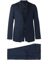 Lardini Contrast Lapel And Button Suit