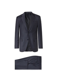 Ermenegildo Zegna Navy Easy Slim Fit Mlange Wool And Silk Blend Suit