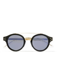 CUTLER AND GROSS Round Frame Gold Tone And Acetate Sunglasses
