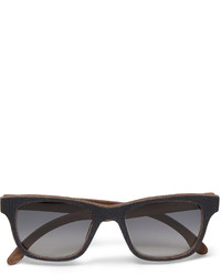 Isaia Square Frame Plaid Wood Sunglasses