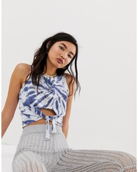 ASOS DESIGN Sleeveless Top With Tie Front In Tie Dye